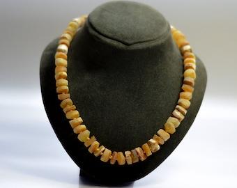 Amber necklace/ unpolished baltic amber/ white amber/ stilish necklace, handmade necklace