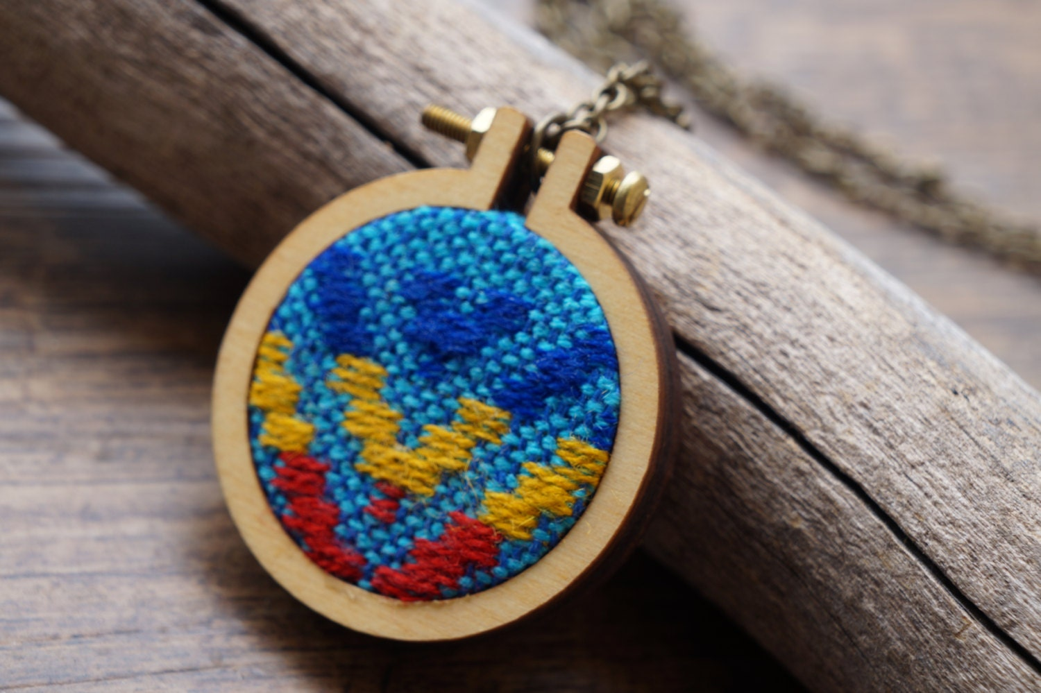 Mini embroidery hoop necklace mexican textile
