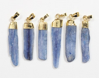 Raw Kyanite Pendants -- With Electroplated Gold Edge Charms Wholesale Supplies CQA-019