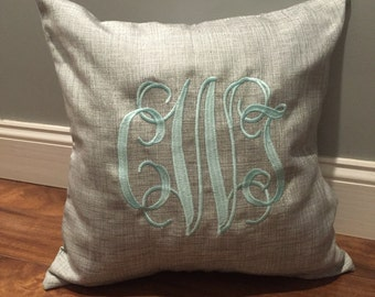 Monogram pillow. Monogram sham. Monogram pillow case. Custom pillow case. Personalized Pillow. Embroidered Pillow.
