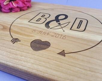 Wedding Gift Personalized /Housewarming Gift / 5th Anniversary / Cherry or Walnut