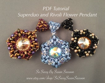 Superduo and Rivoli Flower Pendant Tutorial