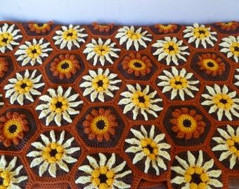 Beautiful Crochet Afghan Handmade Flowers