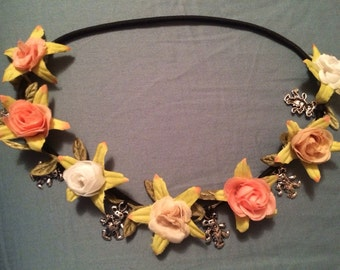 Flower headband with Grateful Dead charms