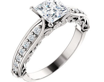 Princess Cut 1.24 CTW Engagement Ring Sculptural Accented Design Wedding Ring in Solid 14K White Gold