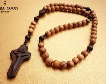 Catholic rosary,Olive Wood Rosary, olive wood beads from Nazareth,Five decade,Holy Rosary,Catholic Gift