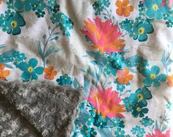 Floral Nursery, Pink real gray Nursery, Baby Blanket, Turquoise, Minky Baby Blanket, Floral baby blanket, floral, modern nursery, gift,