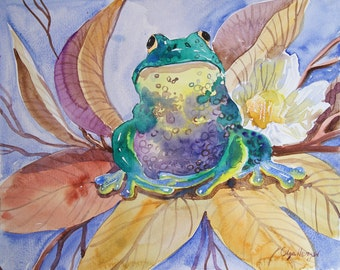 Original Watercolor painting art nursery art classical painting  Frog anuaran 11,8 x 9,5 in  illustration Art
