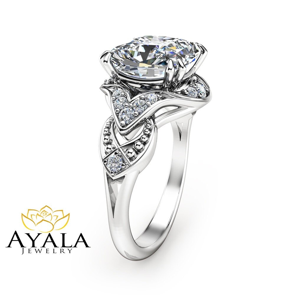 cushion cut moissanite ring 14k white gold engagement ring