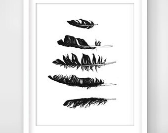 30% OFF SALE Feather Print, Inspirational Art, Feather Art Print, Black & White Print, Feather Illustration, Feather Decor, Girls Room Decor