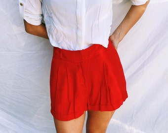 Bright Red High Waisted Pleated Shorts 26