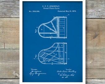 Steinway Grand Piano, Patent Prints, Piano Patent Poster, Music Room Decor, Piano Art, Musician Gifts, P259