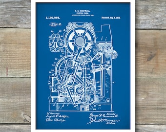 Printing Press, Patent Poster, Office Art, Industrial Art, Book Lover, Writer Gift, P399