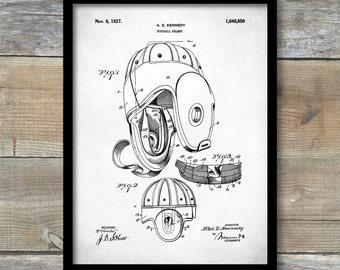 Poster, Patent Poster, Football Leather Helmet 1927, Football Patent Print, Football Wall Art, Sports Decor, Vintage Football, P417