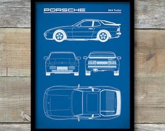 Porsche 944 Turbo Blueprint, Patent Print, Porsche 944 Poster, Porsche 944 Art, Porsche 944 Decor, P262