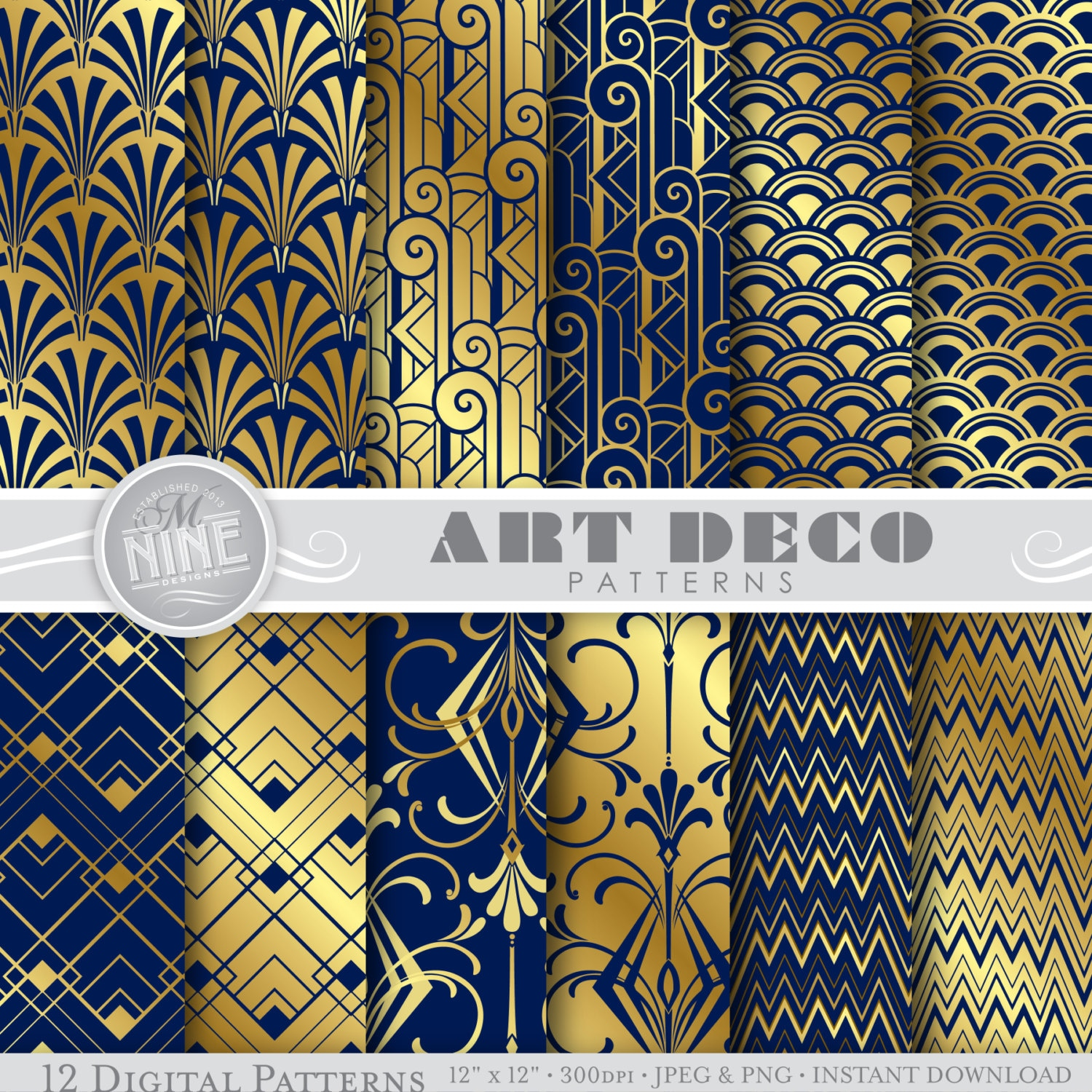 art deco digital paper navy blue gold art deco. Black Bedroom Furniture Sets. Home Design Ideas