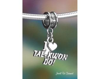 Sterling Silver I Love Tae Kwon Do Charm or Bracelet Taekwondo .925