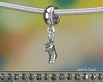 Tiny Sterling Silver Christmas Stocking Charm or European Bracelet 925