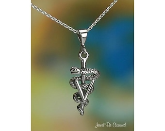 "Sterling Silver Vet Veterinarian Necklace 16-24"" Chain or Pendant Only"