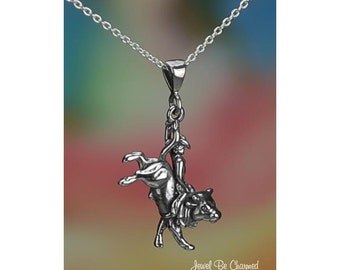 """Sterling Silver Rodeo Bull Rider Necklace 16-24"""" Chain or Pendant Only"""