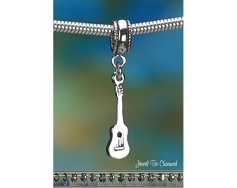 Sterling Silver Ukulele Charm or European Style Charm Bracelet Uke 925