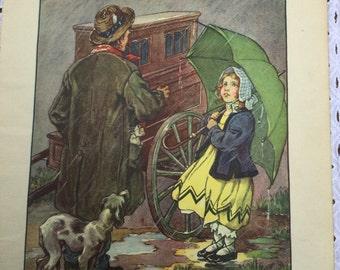 1937 Robert Louis Stevenson poetry magazine illustration - CM Burd