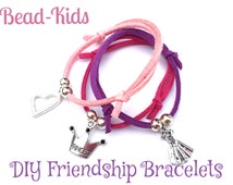 Friendship Suede Bracelet - DIY or Readymade - Princess crown tiara heart and dress charms, pink, purple