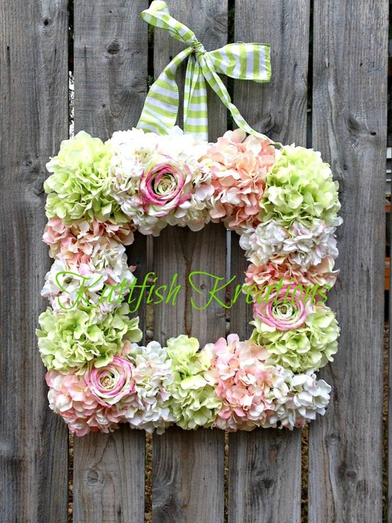 Square Hydrangea Wreath Spring Wreath Pastel By