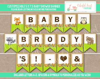 Instant Download, Woodland Shower Banner, Woodland Printable Baby Shower Banner, Woodland Baby Shower Printables, Woodland banner #0003