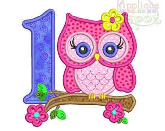 Cute Girly Owl First 1st Birthday Flowers <4 sizes included 4x4 5x7 6x10 7x12> Applique Design Embroidery Machine -Instant Download File