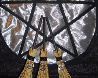 Broom of witches Altar, protection, witchcraft, Wiccan Pentagram altar