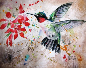 Watercolor painting original Hummingbird Limited Edition Giclee Art Print from my original watercolor painting of a hummingbird, 11 x 14