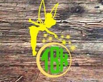 Tinkerbell Decal and Monograms For Tumblers or Yeti  (READ DESCRIPTION before ordering)
