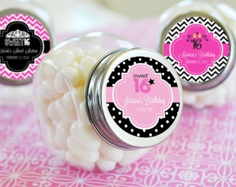 Sweet Sixteen Favors-Quinceanera Favors-Bar Mitzvah Favors-Personalized Candy Jars-Custom Party Favors (set of 24)