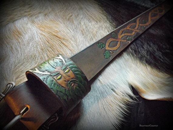 Greenman Druid Belt - Cernnunos - Herne - Celtic Knotwork Oak Branches
