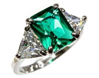 3 Stone Green Emerald Cut Trillion Cut CZ Ring Sterling Silver