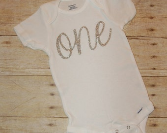 Custom ONE birthday shirt with silver or gold glitter