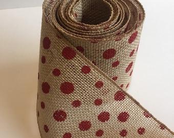 Polka dotted BURLAP Ribbon (Wired) Mason Jar Wrap -Wedding Decor - Burlap Wreath - Rustic wedding - Rustic decor - Burlap bow - DIY IDEA