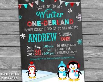 Winter Onederland Invitations, Onederland Birthday Party Invitation, Boy First Birthday Invitation, Penguins, Red and Aqua Blue