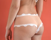 "Panties ""Clémentine"" Tanga panties, cheeky, little panty with cheek peek, sheer mesh, coral and ivory lace, lingerie, women undies, knickers"