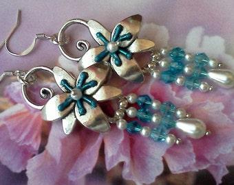 Handmade Earrings, Hand Crafted Earrings, Dangle Earrings, Blue Earrings, Boho Earrings, Swarovski Earrings, Hand Painted, Chandelier