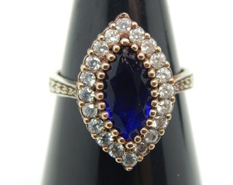 Sapphire Ring  , Gold Plated Ring  ,Sapphire Ring, Sapphire Ring Antique Wedding Ring ,Hand Engrave Ring