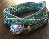 Beaded Wrap Bracelet, Blue Green, 40