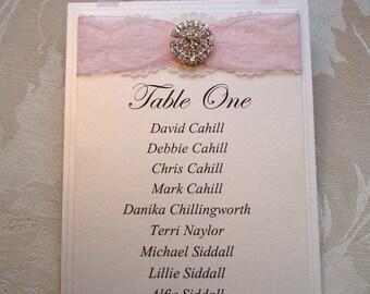 Table Plan Cards. Seating Plan Cards. Diamante Wedding Seating Plan.