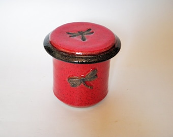 Red and Black Dragonfly Butter Keeper