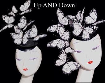 Worn Up OR Down - White Monarch Feather Butterfly Fascinator Hat Hatinator Headpiece- Effie Trinket & Alexander McQueen Inspired
