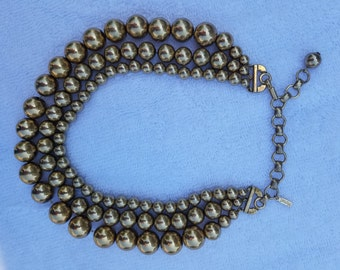 Vintage Triple Strand Gold Bead Necklace