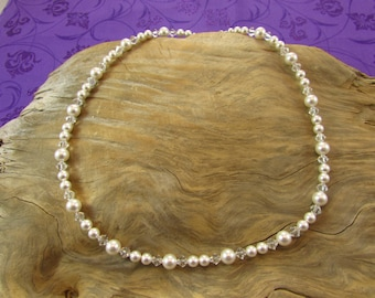 Swarovski White Pearl and Clear Crystal Necklace/ handmade/ hand crafted/ bride