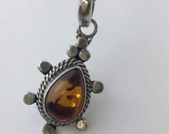 Vintage Sterling Silver and Amber Teardrop  Pendant Necklace