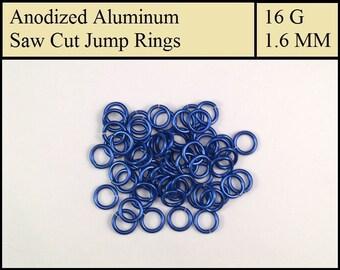 100 Dark Blue Aluminum Jump Rings - 1.6mm = 16 gauge (SWG) = 14 gauge (AWG) wire - Anodized 5356 Aluminum - Saw Cut - On sale!!